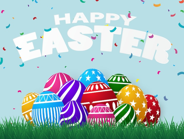Colorful easter egg design use to assemble posters