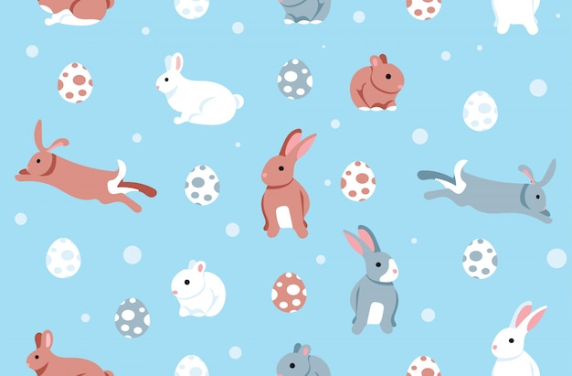 Colorful easter eggs bunny seamless background pattern