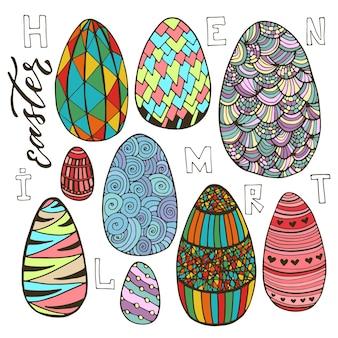 다채로운 부활절 달걀 낙서 스타일에서 설정합니다. 인사말 카드 디자인을위한 휴일 컬렉션