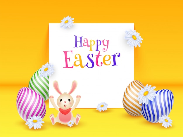 Colorful easter eggs with cute bunny illustration