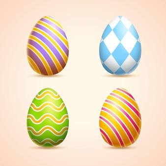 줄무늬와 마름모가 있는 다채로운 부활절 달걀은 3d 그림으로 인쇄됩니다.