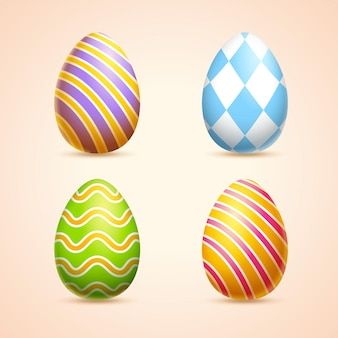Colorful easter eggs with striped and rhombus print in 3d illustration