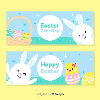 Colorful easter greeting banner