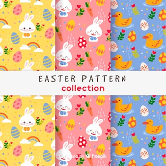 Colorful easter pattern set