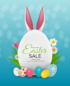 Colorful easter sale template banner
