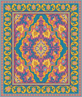 Colorful eastern carpet. blue and pink pattern.