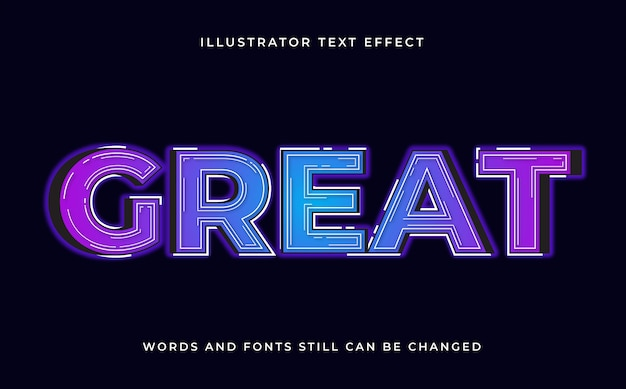 Colorful editable modern text with light effect