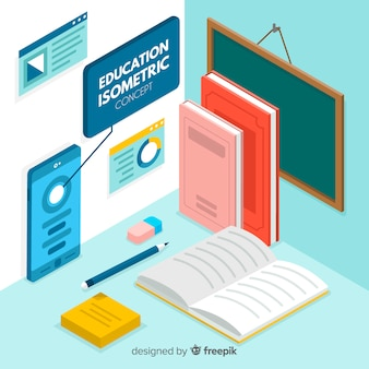 Colorful education concept with isometric view