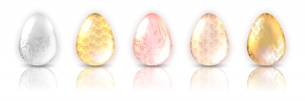Colorful egg set with decoration of plant and reflection