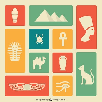 Colorful egypt icons