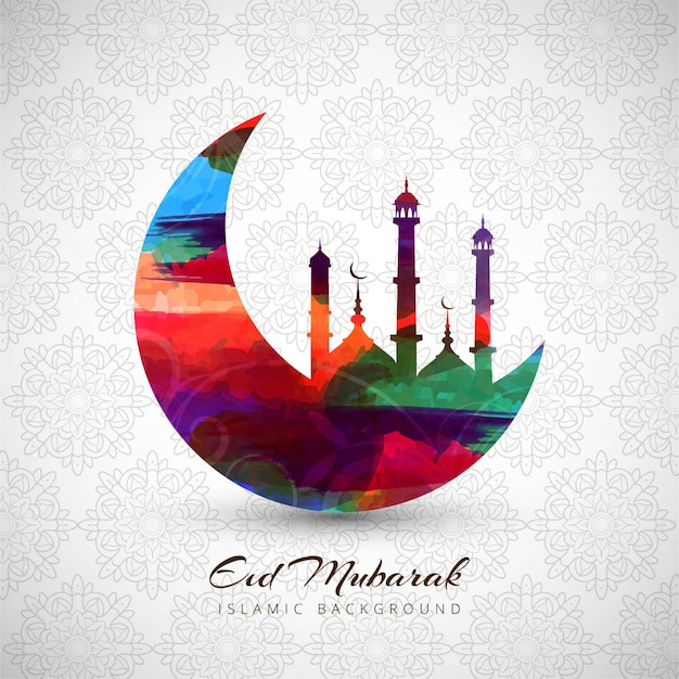 Colorful eid mubarak background with moon