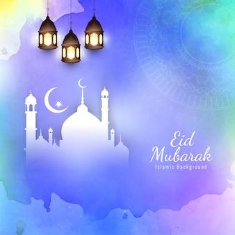 Colorful eid mubarak islamic religious background