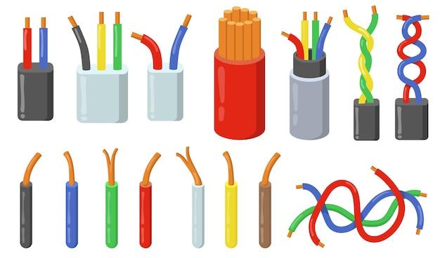 Набор красочных электрических кабелей. разноцветные короткие отрезки проводов с медной жилой.