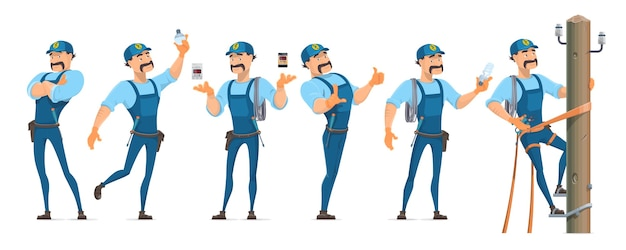 Красочные персонажи-электрики в разных позах с профессиональным оборудованием и мастер, работающий на изолированной опоре