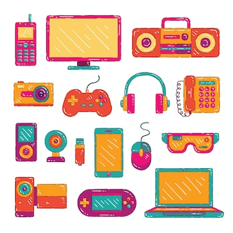 Colorful electronic gadget collection