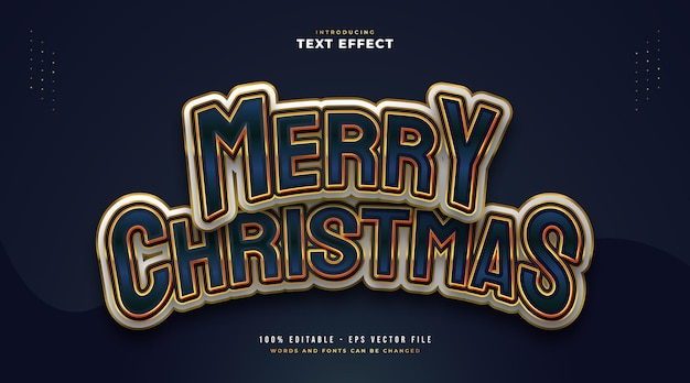 Colorful and elegant merry christmas text with cartoon style. editable text style effect