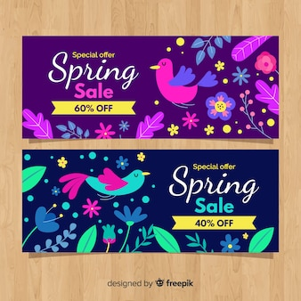 Colorful elements spring sale banner