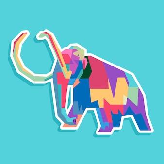 カラフルな象のポップアートの肖像画のデザイン