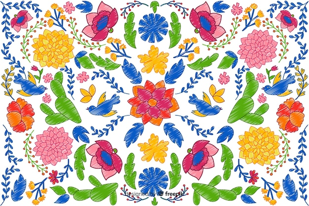 Colorful embroidery floral background