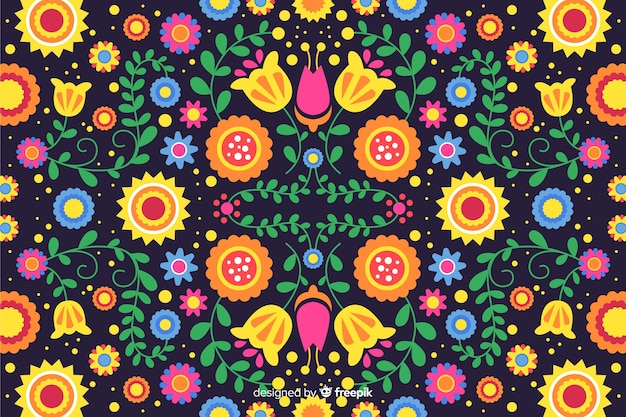 Colorful embroidery mexican floral background