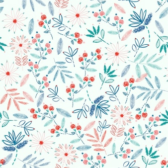Colorful embroidery seamless pattern with liberty small flowers decoration vector illustration. hand drawn elements. design for home decor, fashion, fabric, wrapping, wallpaper and all prints