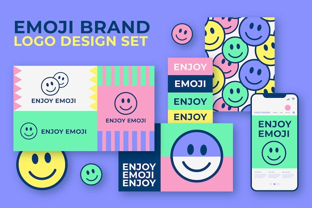 Colorful emoji logo collection and stationery pack