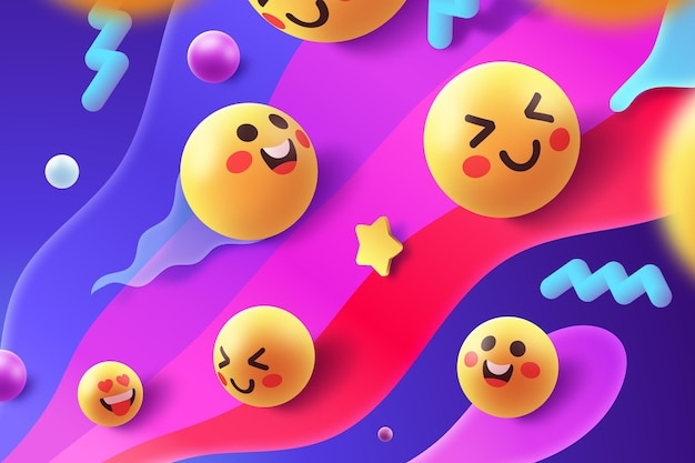 Colorful emoji set concept