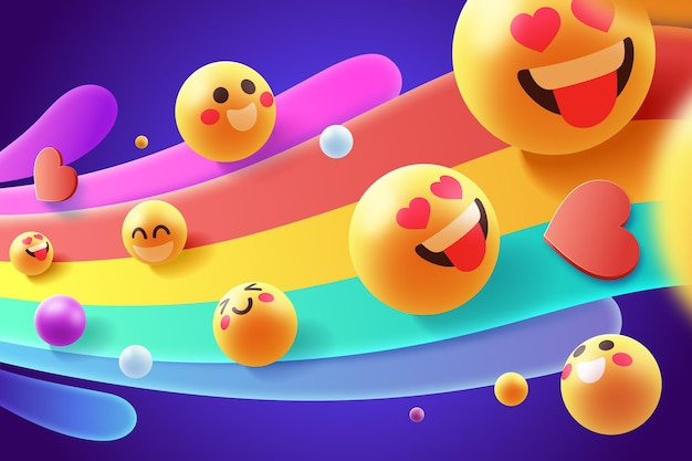 Colorful emoji set Premium Vector