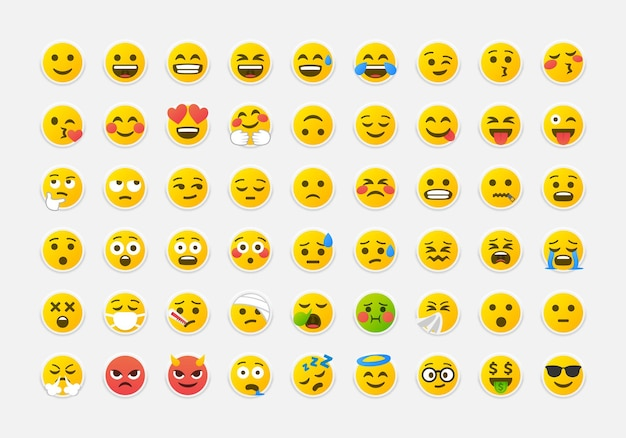 カラフルな絵文字ベクトルパック。ニューモルフィックスタイルの大きなセットの黄色い笑顔の絵文字。 neumorphismデザインアイコン。ベクターeps10