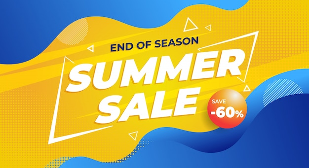 Colorful end of summer sale banner background
