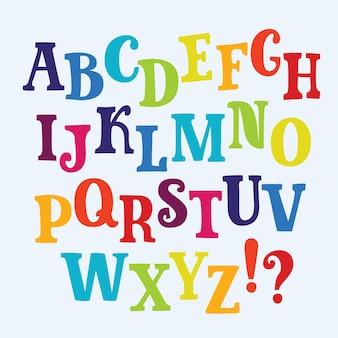 Colorful english alphabet illustration