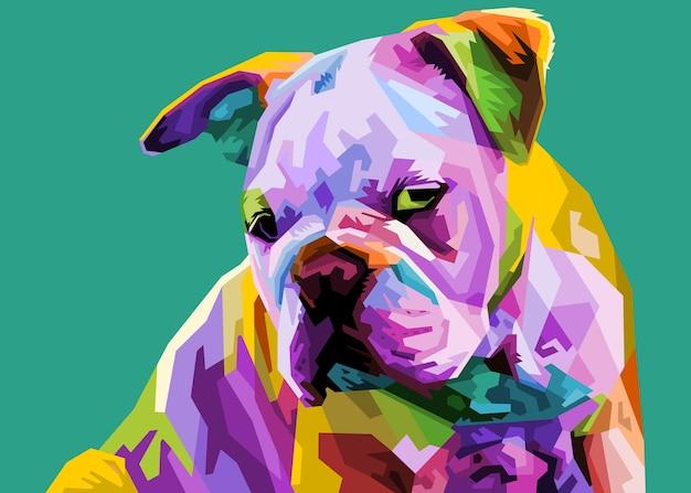 Colorful english bulldog on pop art style.