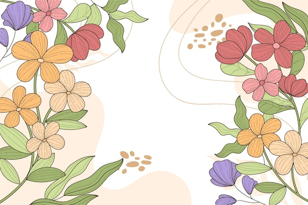 Colorful engraving floral background