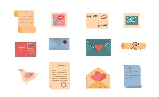 Красочные конверты с почтовыми марками писем и почты изолировали плоскую иллюстрацию вектора