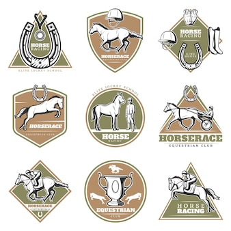 Colorful equestrian sport logos set
