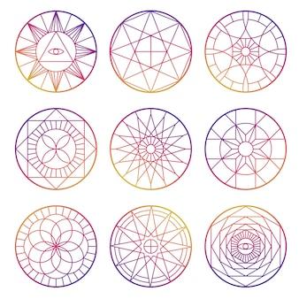 Дизайн красочных эзотерических геометрических пентаграмм