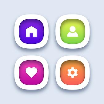 Красочные важные значки пользовательского интерфейса