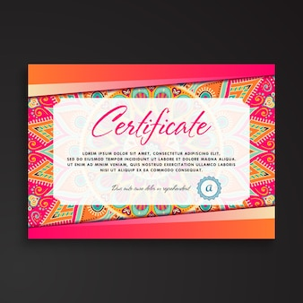 Colorful ethnic certificate template