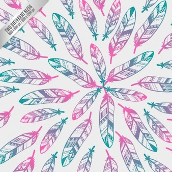Colorful ethnic feathers background