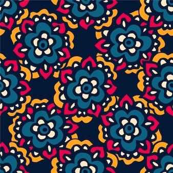 カラフルなエスニックお祭り抽象的な花のベクトルパターン