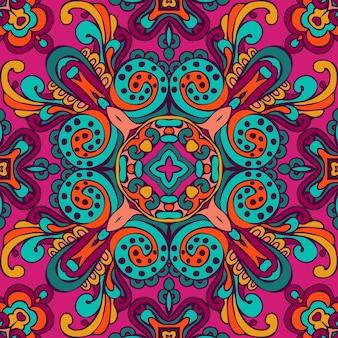 カラフルなエスニックフェスティブ抽象的な豪華なデザイン。ダマスク織繁栄花のベクトルパターン