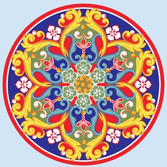 Colorful ethnic round ornamental mandala. oriental arabesque design