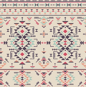 Colorful ethnic seamless pattern with geometric shapes