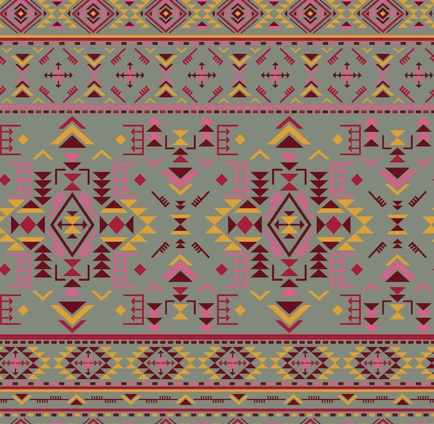 幾何学的な形のカラフルなエスニックシームレスパターン