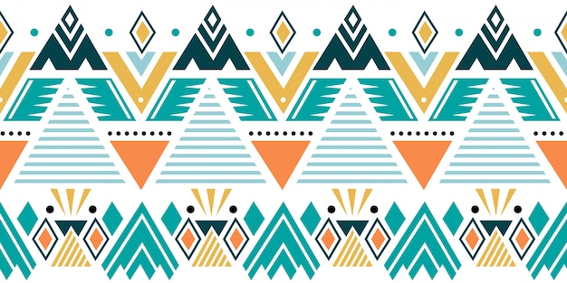 Colorful ethnic seamless pattern with tribal geometric motifs