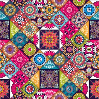 Colorful ethnic tiles pattern