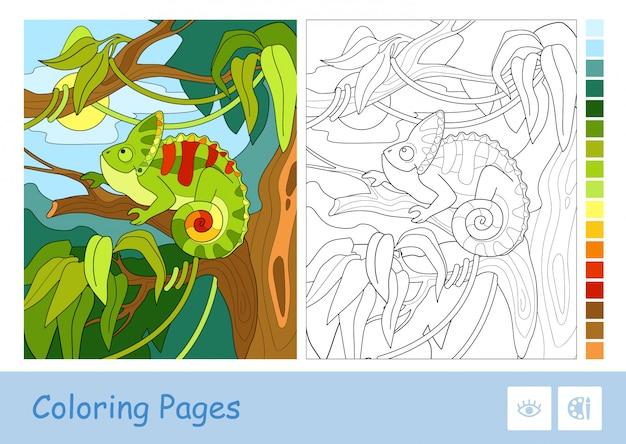 Красочный пример хамелеона, сидя на ветке в тропических лесах и бесцветный контур изображения на белом фоне. связанные с животными дети дошкольного возраста раскраски и развивающая деятельность.