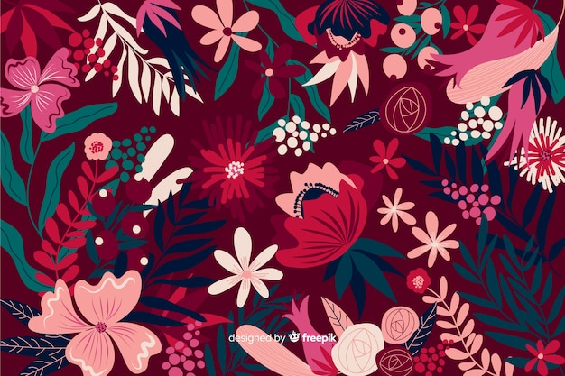 Colorful exotic floral background design