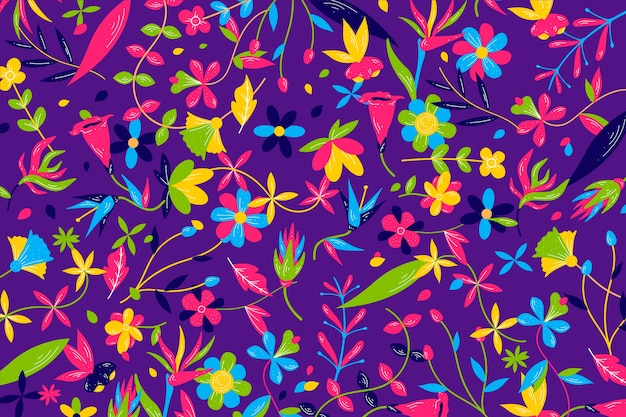 Colorful exotic floral background pattern