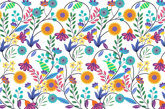 Colorful exotic floral background theme